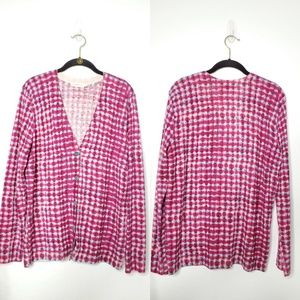 Tory Burch Printed Merino Wool Cardigan.